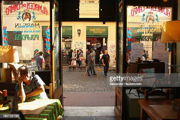 General view on a restaurant at Plaza Dorrego in San Telmo on September 8 2013 in Buenos Aires Argentina