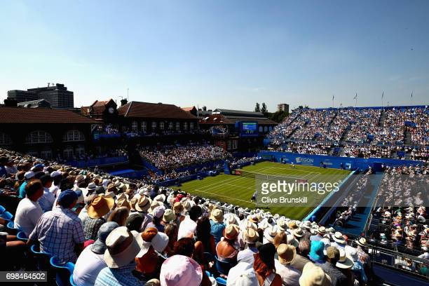 A general view on Centre Court during the mens singles first round match between Stan Wawrinka of Switzerland and Feliciano Lopez of Spain on day two...
