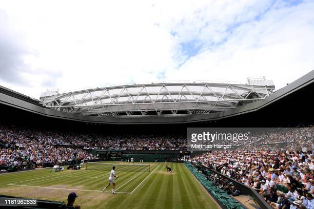 General view on Centre Court in the Men's Singles final between Roger Federer of Switzerland and Novak Djokovic of Serbia during Day thirteen of The...