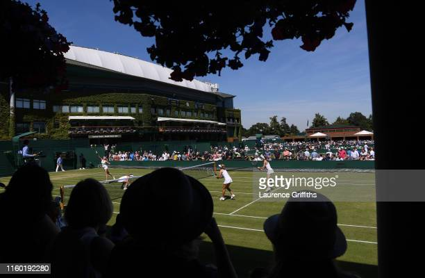 A general view on Court 4 during the Ladies' Doubles first round match between Nadiia Kichenok of Ukraine Abigail Spears of The United States Sofia...