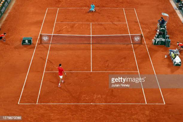 General view on Court Philippe-Chatrier as Rafael Nadal of Spain celebrates after winning championship point during his Men's Singles Final against...