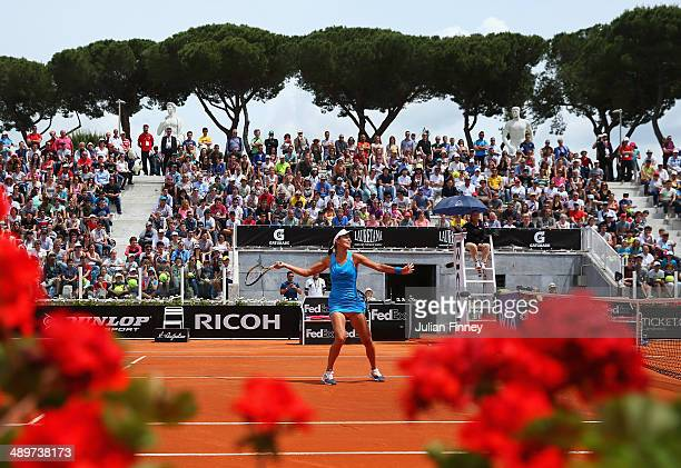 A general view on court Pietrangeli of Ana Ivanovic of Serbia in action against Karin Knapp of Italy during day two of the Internazionali BNL...