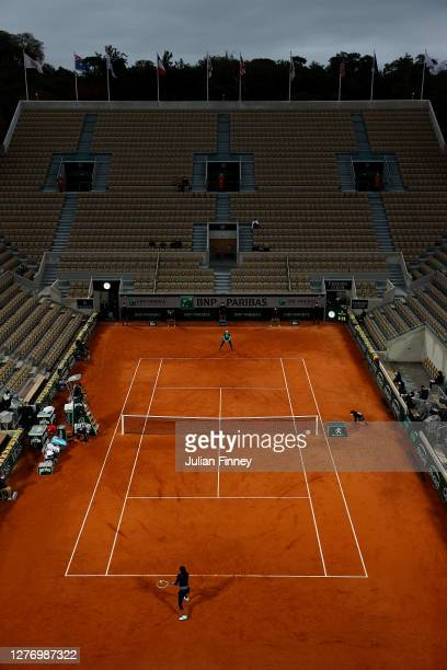 General view on Court Suzanne Lenglen during the Women's Singles first round match between Cori Gauff of The United States of America and Johanna...