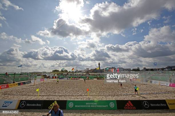 A general view on day 1 of the 2017 German Beach Soccer Championship on August 19 2017 in Warnemunde Germany