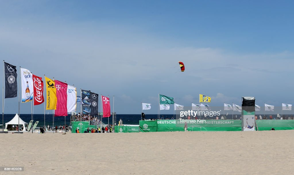 A general view on day 2 of the 2017 German Beach Soccer Championship on August 20, 2017 in Warnemunde, Germany.