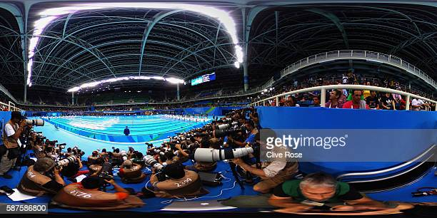 General view on Day 3 of the Rio 2016 Olympic Games at the Olympic Aquatics Stadium on August 8 2016 in Rio de Janeiro Brazil