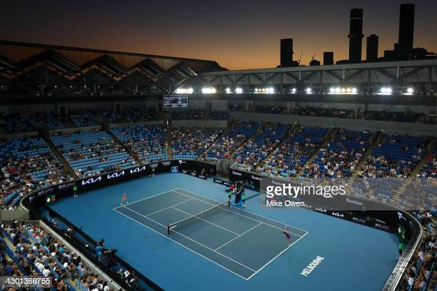 General view on Margaret Court Arena during the Women's Singles second round match between Ajla Tomljanovic of Australia and Simona Halep of Romania...