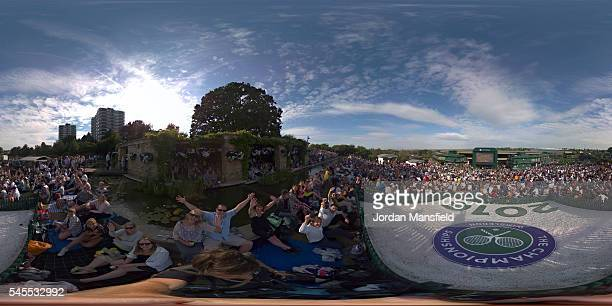 A general view on Murray Mound on day eleven of the Wimbledon Lawn Tennis Championships at the All England Lawn Tennis and Croquet Club on July 8...