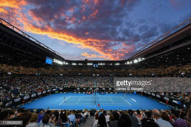 A general view on Rod Laver Arena at sunset during the Women's singles macth between Naomi Osaka of Japan and Petra Kvitova of Czechoslovakia during...