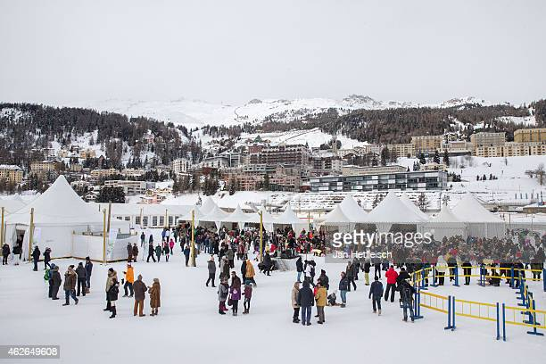 A general view on St Moritz and the tents of the Snow Polo World Cup 2015 on February 1 2015 in St Moritz Switzerland