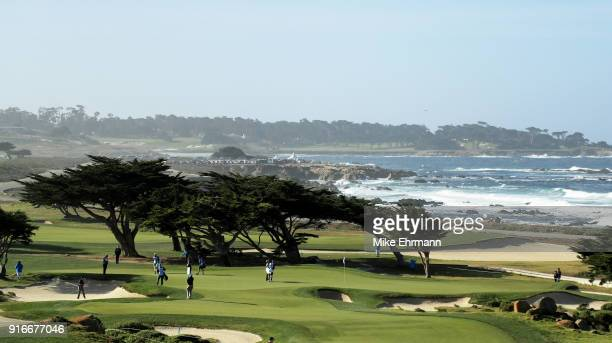 A general view on the 11th green during Round Three of the ATT Pebble Beach ProAm at Monterey Peninsula Country Club on February 10 2018 in Pebble...