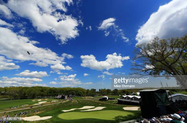 A general view on the 17th green during the first round of the 2019 PGA Championship at the Bethpage Black course on May 16 2019 in Farmingdale New...