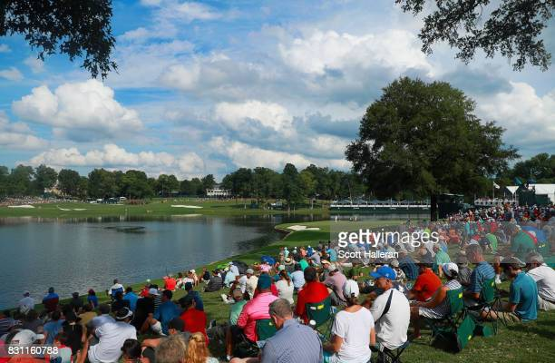 General view on the 17th hole during the final round of the 2017 PGA Championship at Quail Hollow Club on August 13, 2017 in Charlotte, North...