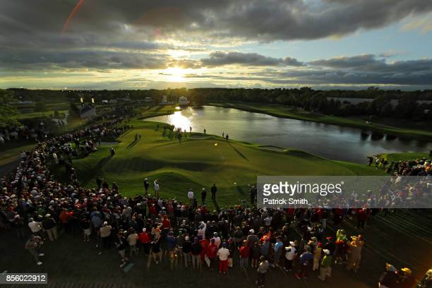 General view on the 18th green during Saturday afternoon four-ball matches of the Presidents Cup at Liberty National Golf Club on September 30, 2017...