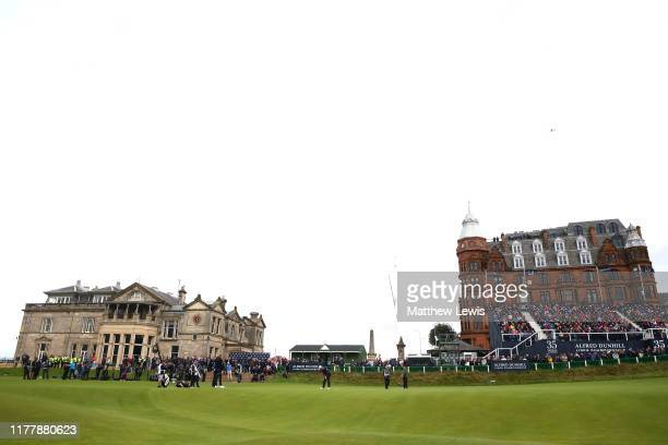 A general view on the 18th hole as Victor Perez of France putts during Day four of the Alfred Dunhill Links Championship at The Old Course on...