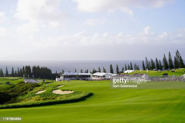 General view on the 18th hole during the final round of the Sentry Tournament Of Champions at the Kapalua Plantation Course on January 05, 2020 in...