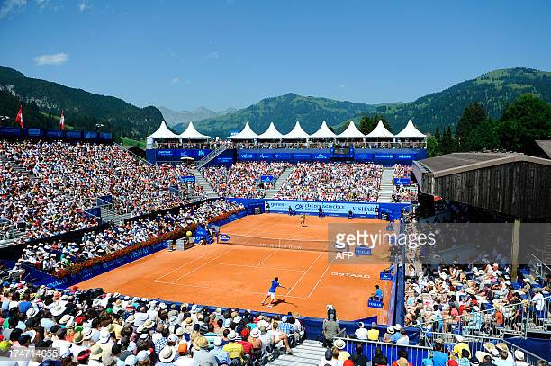 General view on the center court during the final match at the Swiss Open ATP tennis tournament on July 28, 2013 in Gstaad. AFP PHOTO / Alain...