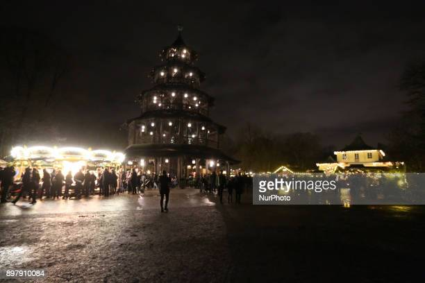 General view on the christmas market at the fast day of the Christmas Market at quotChinesischer Turmquot in Munich on December 23 2017