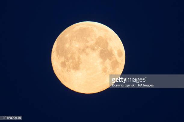 General view on the full moon which in May is also known as the flower moon signifying the flowers that bloom during the month