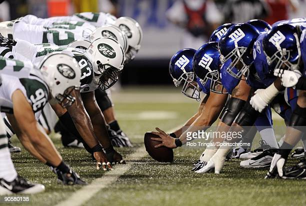 General view on the line of scrimmage before the snap during a preseason game between the the New York Jets and the New York Giants at Giants Stadium...