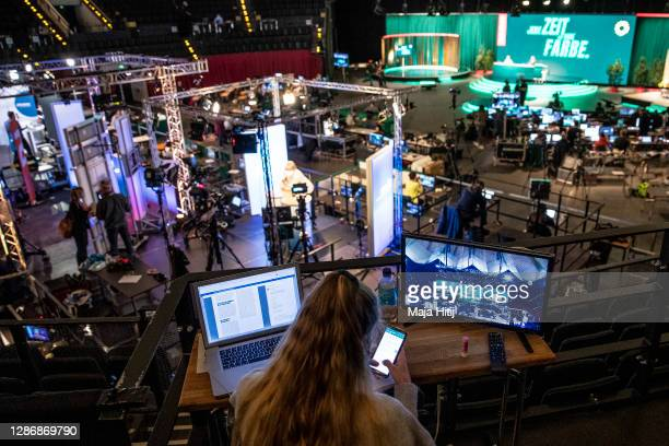 General view on the second day of a three-day Greens Party federal party congress during the second wave of the coronavirus pandemic on November 21,...
