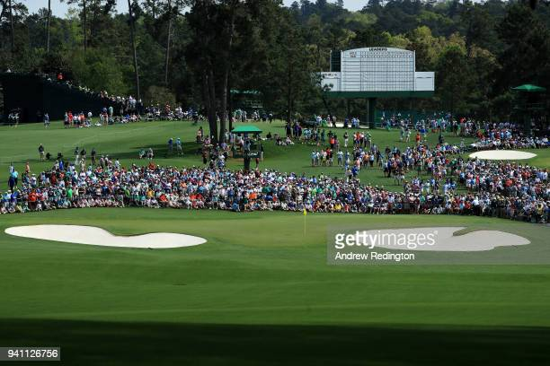 A general view on the second hole during a practice round prior to the start of the 2018 Masters Tournament at Augusta National Golf Club on April 2...