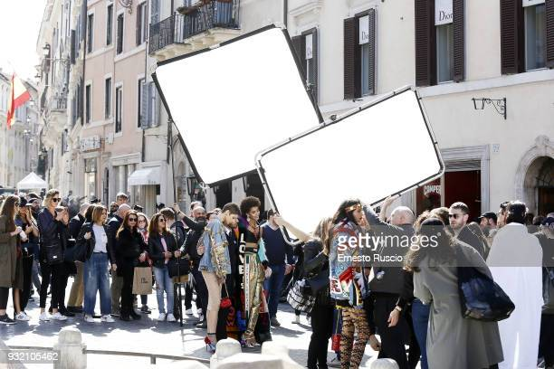 General view on the set of the Dolce Gabbana campaign at Piazza Di Spagna on March 14 2018 in Rome Italy
