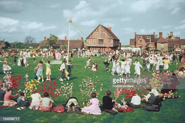 A general view on the village green during the Maypole dancing a feature of the Elston May festival Bedfordshire England on May 5 1955