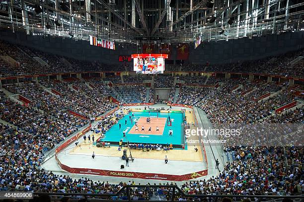 General view on volleyball court at Krakow Arena during the FIVB World Championships match between Italy and USA at Cracow Arena on September 7 2014...