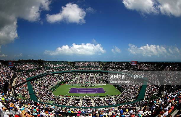 A general view os Stadium Court during a semifinal match between David Goffin of Belguim and Novak Djokovic of Serbia during Day 12 of the Miami Open...
