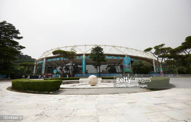 General view ouside the stadium prior to the UEFA Euro 2020 Championship Group A match between Italy and Wales at Olimpico Stadium on June 20, 2021...