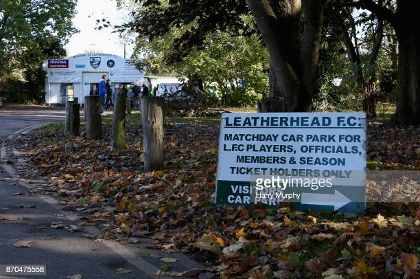 General view oustide the stadium prior to The Emirates FA Cup First Round match between Leatherhead and Billericay Town on November 5, 2017 in...