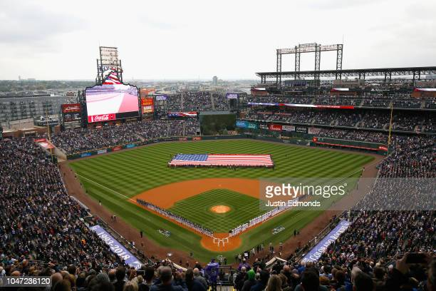 A general view outfield Coors Field before the start of Game Three of the National League Division Series between the Milwaukee Brewers and the...