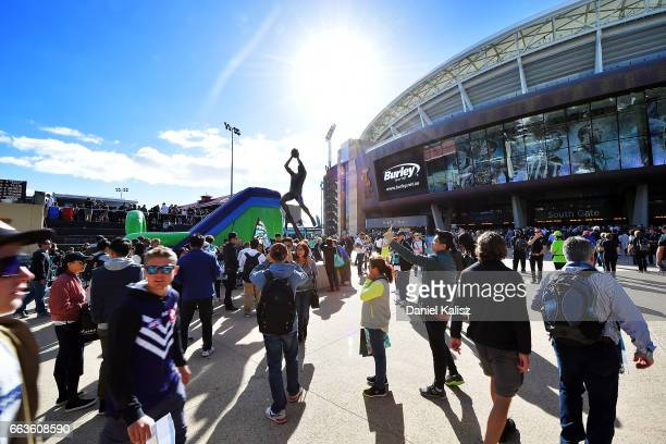 General view outside Adelaide Oval at the southern entrance to the ground prior to the round two AFL match between the Port Adelaide Power and the...