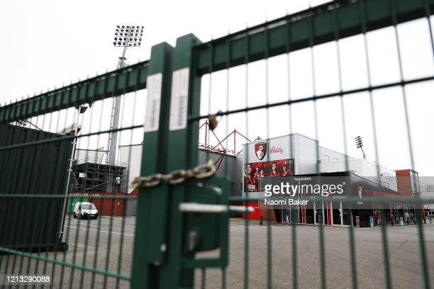 General view outside AFC Bournemouth Football Club after it has been announced that all football league matches including the Premier League and...