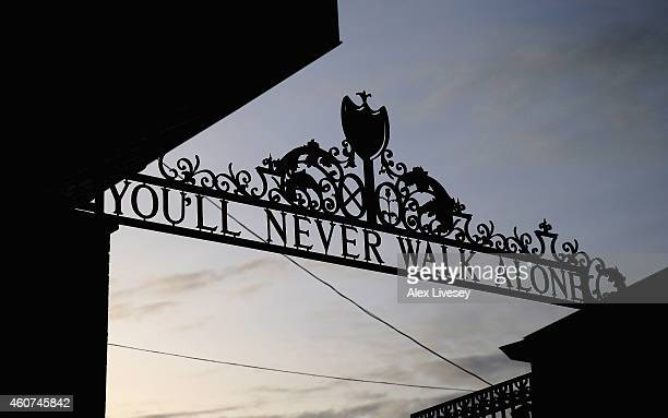 A general view outside Anfield is seen prior to the Barclays Premier League match between Liverpool and Arsenal at Anfield on December 21 2014 in...