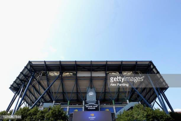A general view outside Arthur Ashe Stadium prior to at USTA Billie Jean King National Tennis Center on August 26 2018 in the Flushing neighborhood of...