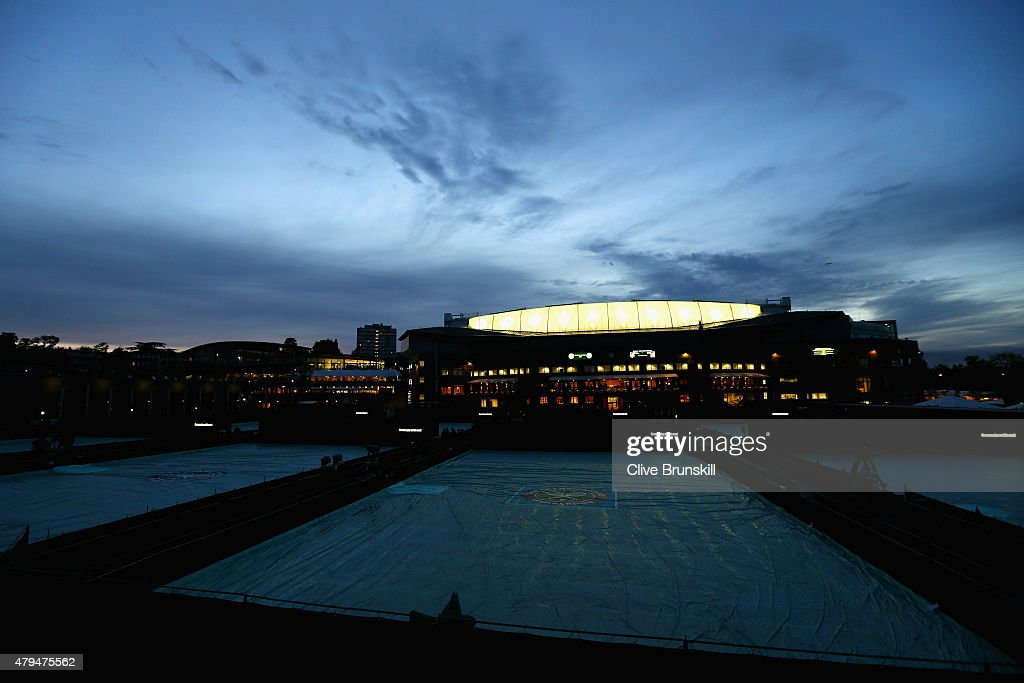 A general view outside Centre Court as play continues in the Gentlemens Singles Third Round match against Gael Monfils of France and Gilles Simon of France during day six of the Wimbledon Lawn Tennis Championships at the All England Lawn Tennis and Croquet Club on July 4, 2015 in London, England.