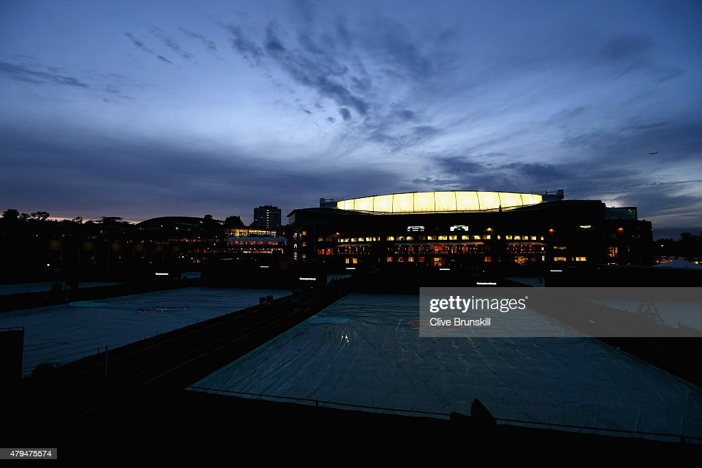 A general view outside Centre Court as play continues in the Gentlemen's Singles Third Round match against Gael Monfils of France and Gilles Simon of France during day six of the Wimbledon Lawn Tennis Championships at the All England Lawn Tennis and Croquet Club on July 4, 2015 in London, England.