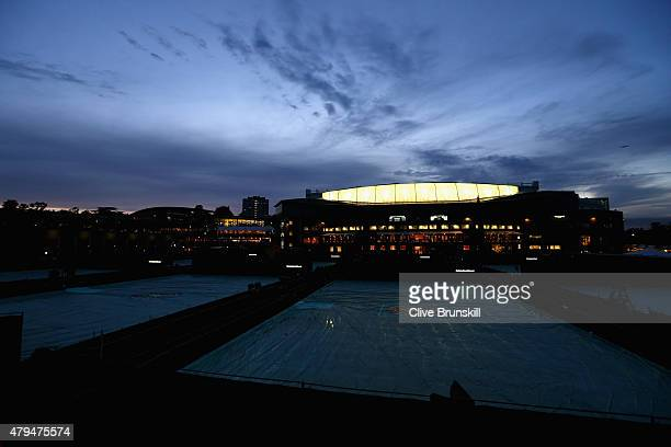 General view outside Centre Court as play continues in the Gentlemen's Singles Third Round match against Gael Monfils of France and Gilles Simon of...
