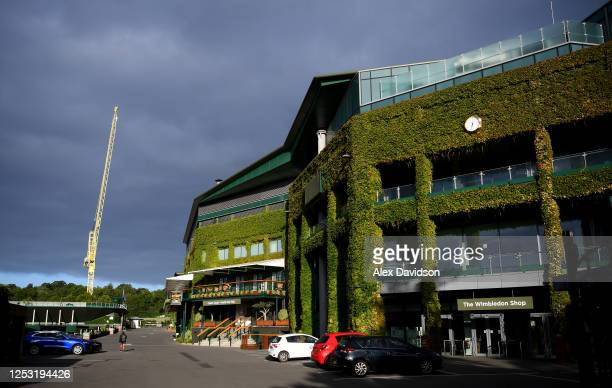 A general view outside Centre Court at The All England Tennis and Croquet Club on June 29 2020 in Wimbledon England The Wimbledon Tennis...