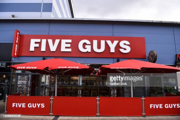 General view outside Five Guys Restaurant store on March 12, 2021 in Cheadle, England.