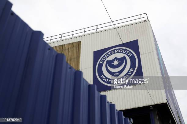General view outside Fratton Park home of Portsmouth Football Club on March 20, 2020 in Portsmouth, England. All English football has been postponed...
