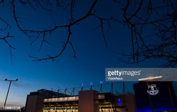 A general view outside Goodison Park after the Premier League match between Everton FC and Chelsea FC at Goodison Park on March 17 2019 in Liverpool...