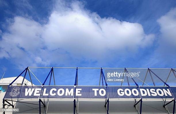 A general view outside Goodison Park is seen prior to the Barclays Premier League match between Everton and West Bromwich Albion at Goodison Park on...