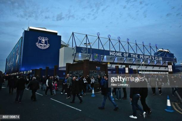A general view outside Goodison Park is seen prior to the UEFA Europa League group E match between Everton FC and Apollon Limassol at Goodison Park...