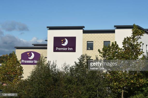 A general view outside hotel chain Premier Inn as StokeonTrent prepares to move up to tier 2 coronavirus restrictions on October 22 2020 in Hanley...