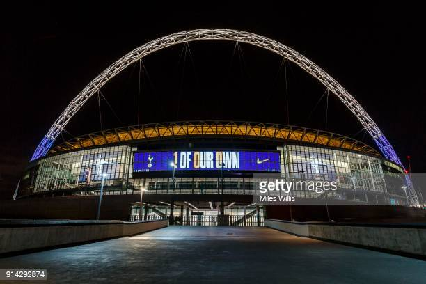 A general view outside London's Wembley Stadium as Nike and Tottenham Hotspur mark Harry Kane's 100th Premier League goal scored against Liverpool...