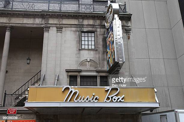A general view outside Music Box as Broadway theatres dim their lights in memory of Lena Horne on May 11 2010 in New York City