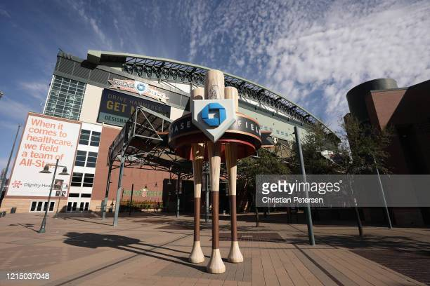 General view outside of Chase Field on March 26 2020 in Phoenix Arizona The Arizona Diamondbacks and the Atlanta Braves were scheduled to play a...